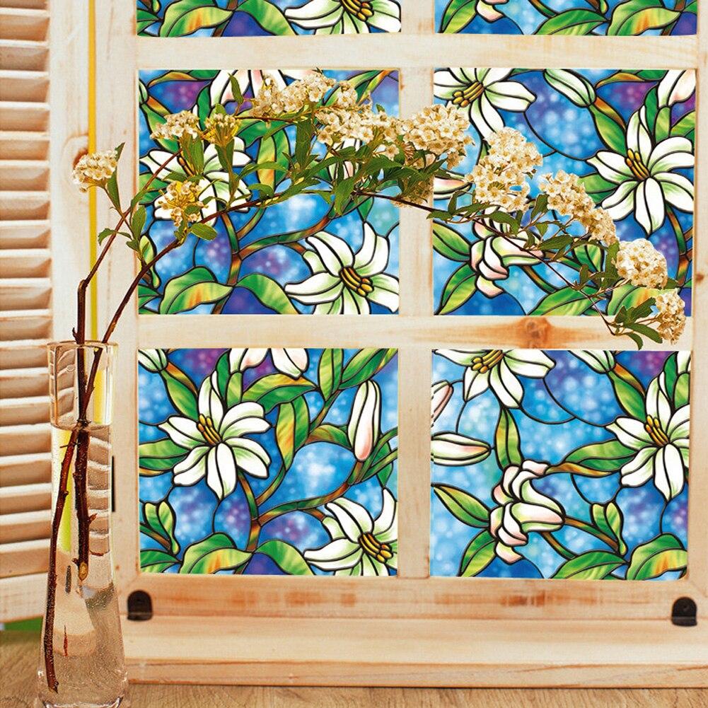 PVC Privatsphäre Fenster Dekorfolien Orchidee Fensterfolien