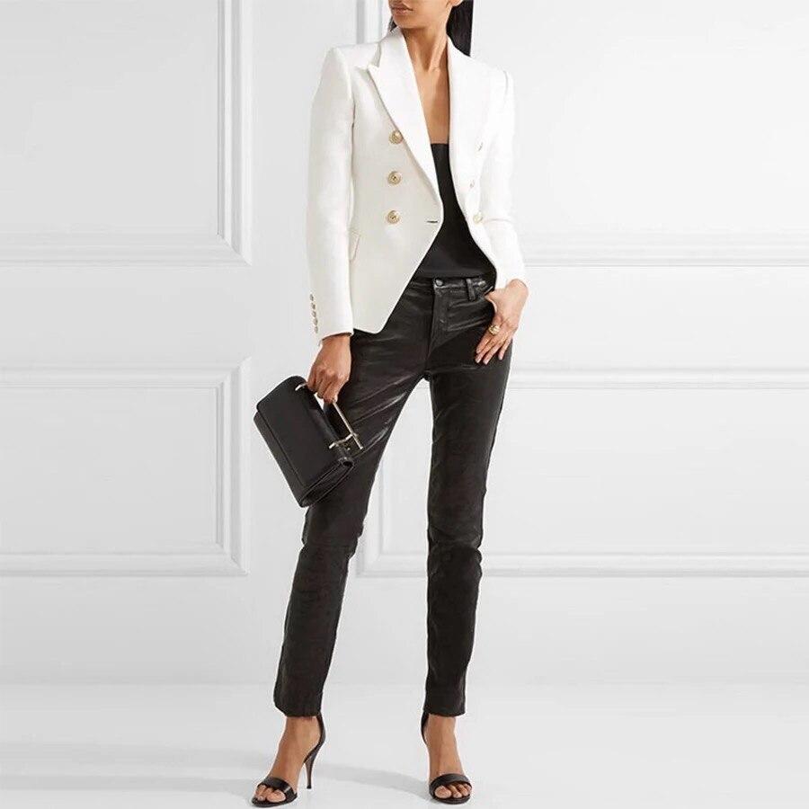 AAA KLASSE!!! Weiß Schwarz Zweireiher Gold Zugeknöpft Blazer Langarm qualität Frau Anzug Blazer-in Blazer aus Damenbekleidung bei  Gruppe 1