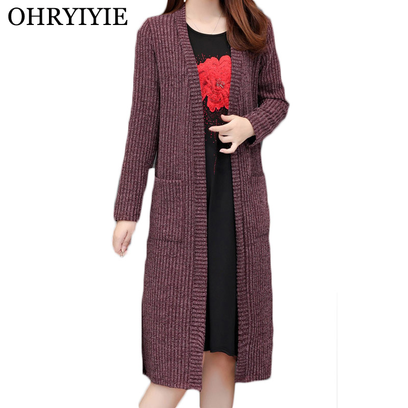 OHRYIYIE Plus Size 5XL 2020 New Spring Autumn Long Cardigan Ladies Fashion Thick Knitted Sweater Women Casual Large Coat L-5XL