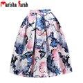 2016 Mujeres Midi Falda de Cintura Alta Skater Tutu Floral Print faldas de Las Mujeres Faldas Plisadas Verano Estilo Falda saia longa jupe longue