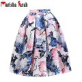 2016 Women Midi Skirt High Waist Skater Tutu Floral Print Skirts Women Skirts Pleated Summer Style Skirt saia longa jupe longue