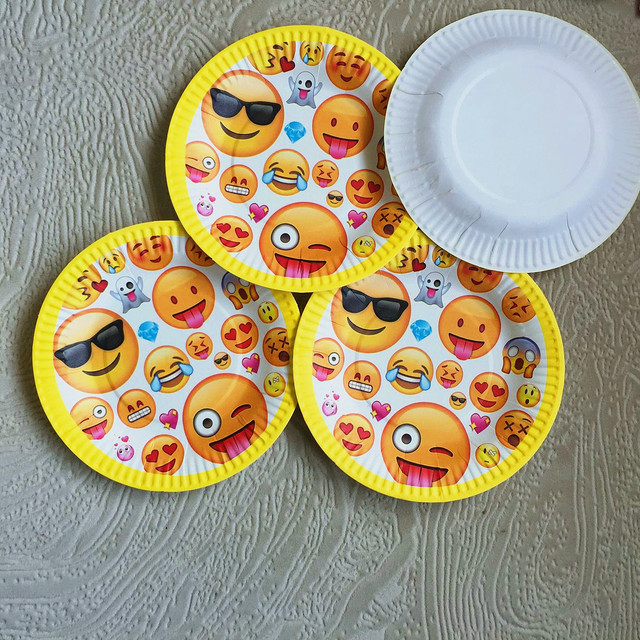 21pcs Lot Emoji Birthday Party Pack Decoration Banners Paper Plates Plato Cups Kid Tableware