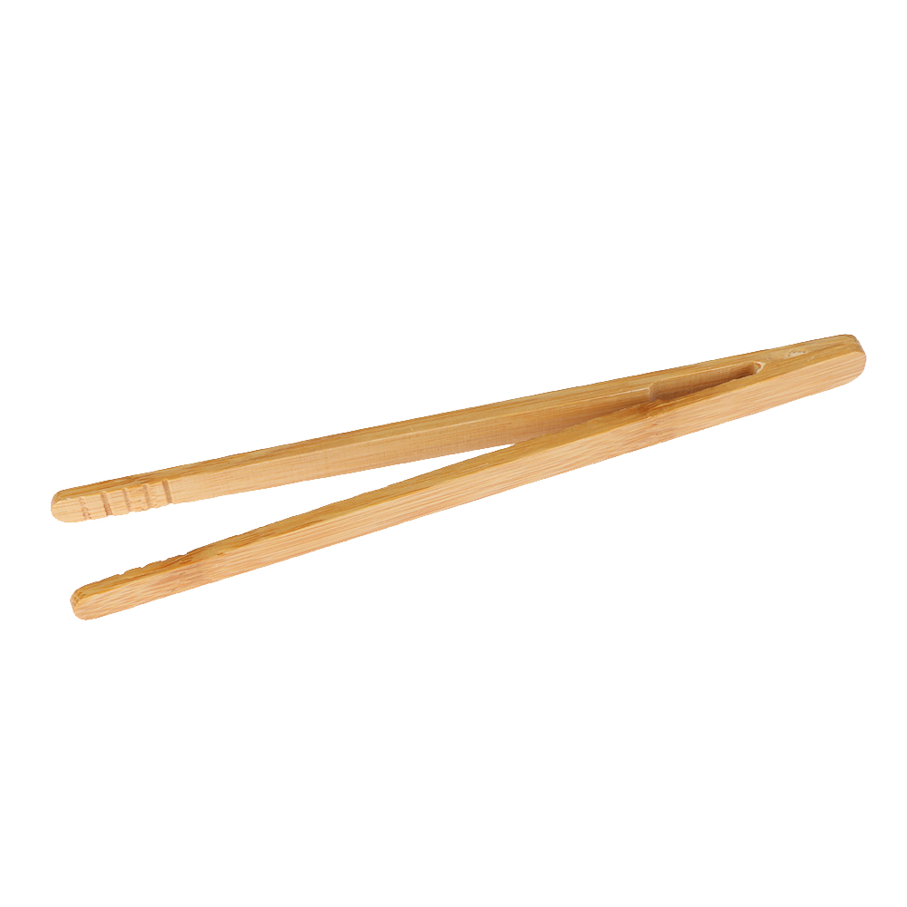 Bamboo Wood Wooden Food Toast Tongs Toaster Bacon Sugar Ice Tea Tong Salads x1