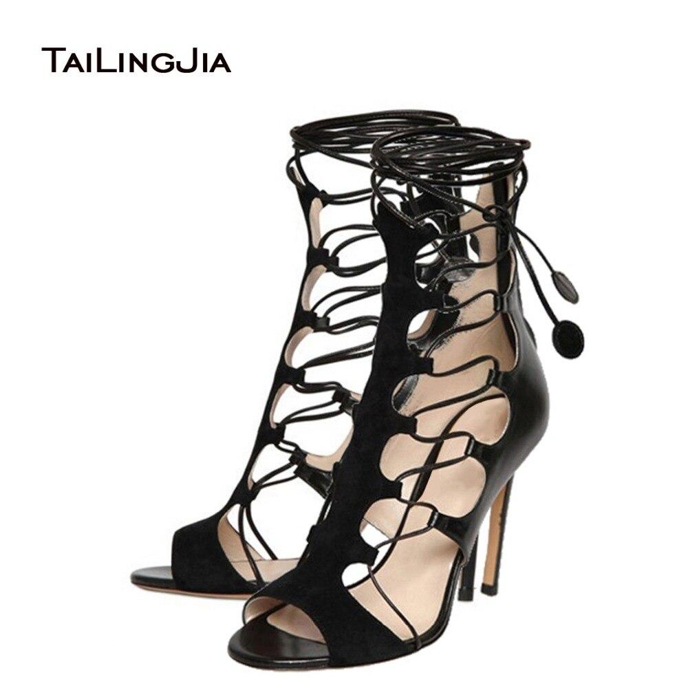 ФОТО 2017 Summer New Gladiator Sandals Women Thin Heels Women Shoes Rome Style High Heel Handmade Sexy Black