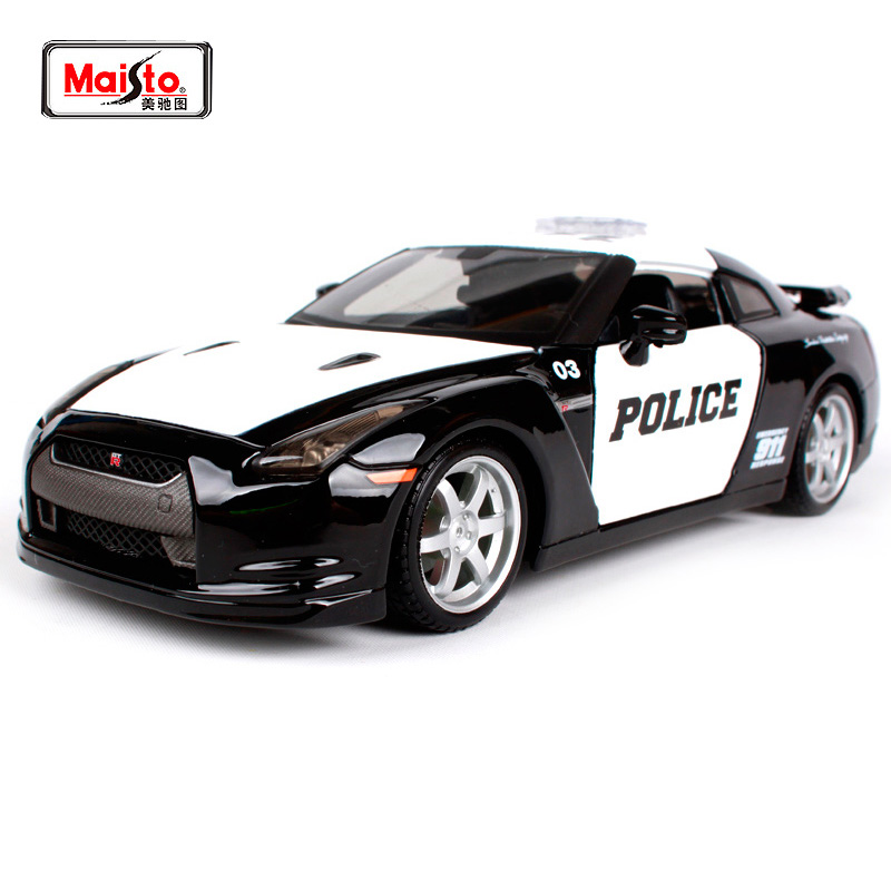 Maisto 1 24 2009 Nissan GT R R35 Police car Sports Car Diecast Model Car Toy