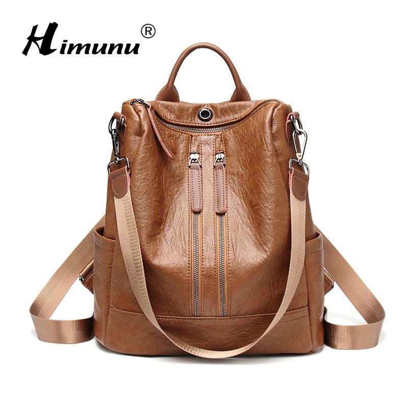 HIMUNU New Women Leather Backpacks Fashion Female Shoulder Bags Sac a Dos Travel Ladies Bagpack
