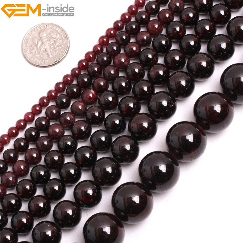 Gem-inside 2-14mm Natural Stone Beads Round Red Garnet Beads For Jewelry Making Beads 15'' DIY Beads Necklace Bracelet Gift 8mm 6 12 color including buddha skull beads elastic string beads set round natural stone beads for jewelry making bracelet diy