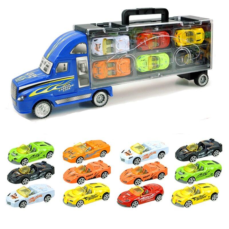 Classic leksaker 13 bilar set Brinquedos Inertial Alloy billeksaker modell Fordon Stora lastbilar Leksaker för barn juguetes Pojke gåva