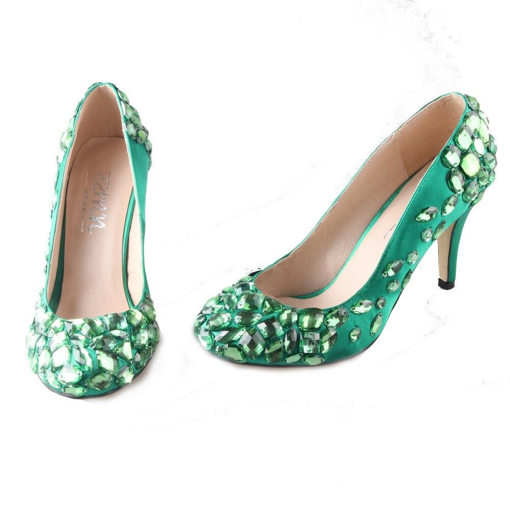 Handmade verde giada verde smeraldo del raso con cristalli cuciti una punta  e scarpe da sera tacco pompe di nozze banchetto della festa nuziale della  donna ... 0676fde7ba44