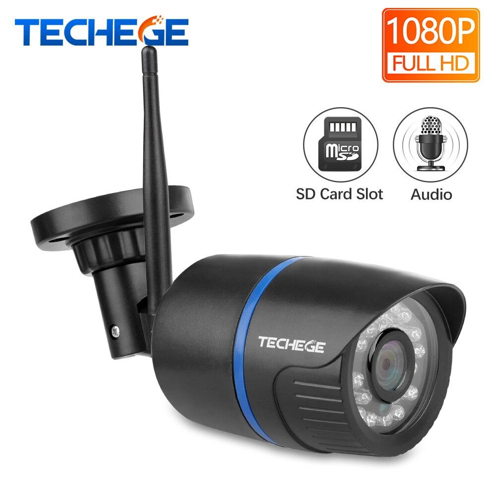 Techege WIFI cámara IP registro de Audio HD 1080 P red 2.0MP cámara inalámbrica Onvif resistente al agua visión nocturna Cámara TF nube de almacenamiento de