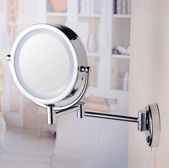 Bath Mirror Chrome Wall Mounted 8 inch Brass 3X/1X Magnifying Mirror LED Mirror Folding Makeup Mirror Cosmetic Mirror Lady Gift mirror silver chrome vespa open face