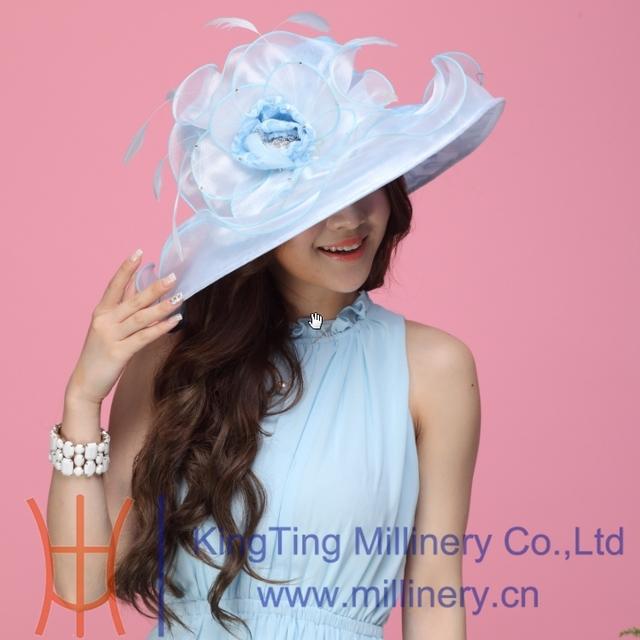 Mujeres libres del envío sombrero del Organza del verano del Organza de encaje de flores de Organza de la boda del sombrero del verano se visten Flower Wave Brim