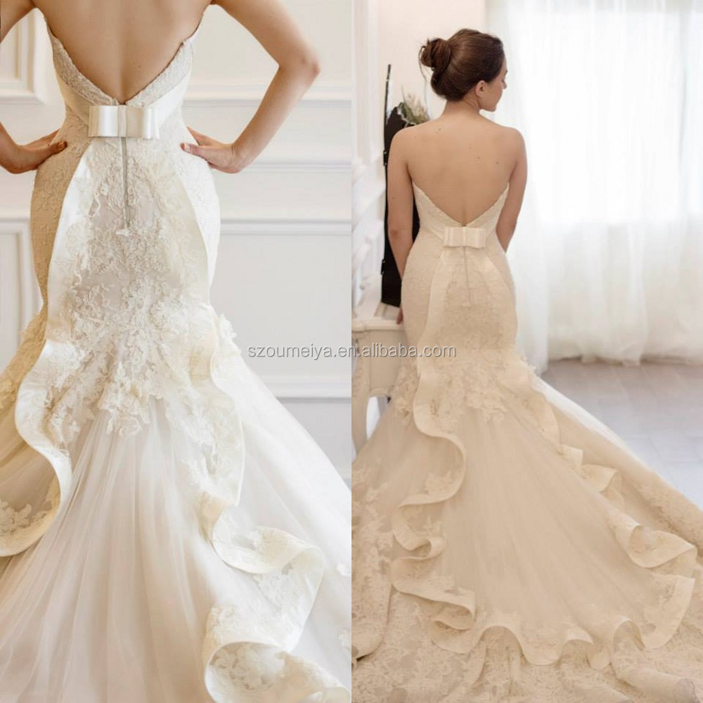 French Lace Mermaid Wedding Dress: OW71 French Lace Appliques Mermaid Elegant Curves Back