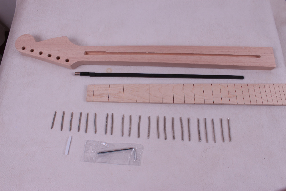 one unfinished electric guitar neck mahogany made and  maple wood fingerboard Bolt on 22 fret   011# diy electric bass guitar kit bolt on solid mahogany body canadian maple neck mx 036