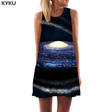 KYKU Galaxy Dress Women Black Hole Sundress Nebula Sexy Psychedelic Korean Style Vortex Office Womens Clothing Summer Ladies