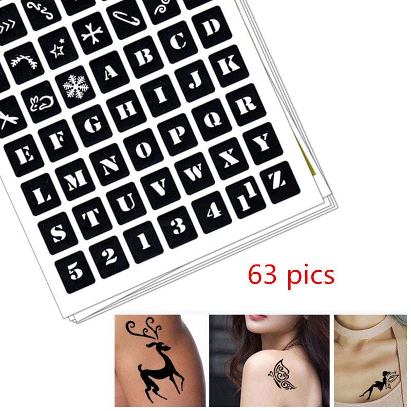 63 pics Henna Tattoo Stencils DIY Drawing Airbrush Mehndi Body Art Stencils Letters A Z Glitter Tatoo Stencil Jagua Templates in Tattoo Stencils from Beauty Health