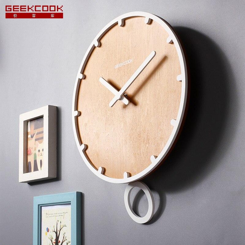 12 pouces 30 cm grande balançoire en bois pendule horloge murale Quartz mouvement montre pour salon bureau décoration de la maison