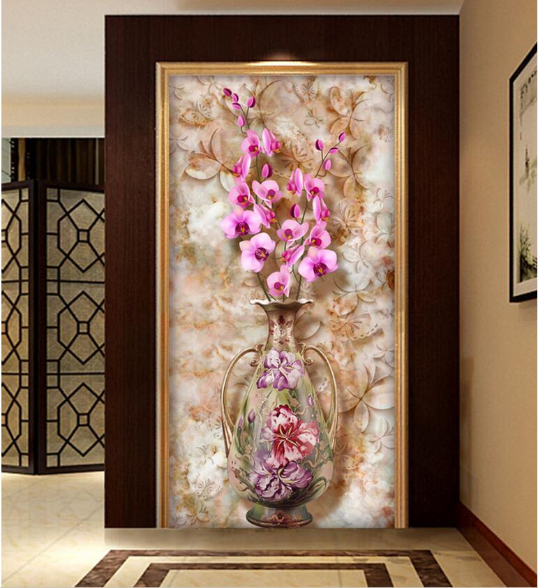 Custom photo 3d wallpaper Non-woven mural picture Vase butterfly orchid vintage marble texture painting Living room decoration iarts aha072962 hand painted thick texture of knife painting trees oil painting red 60 x 40cm