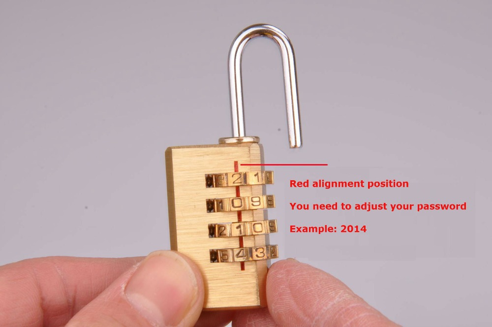 Free shipping! 4 Digit Metal Combination Copper Lock