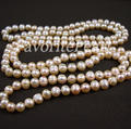 Free Shipping 48 Inch 9-10mm Pink Color Natural Freshwater Pearl Long Necklace Wholesale Pearl Jewelry