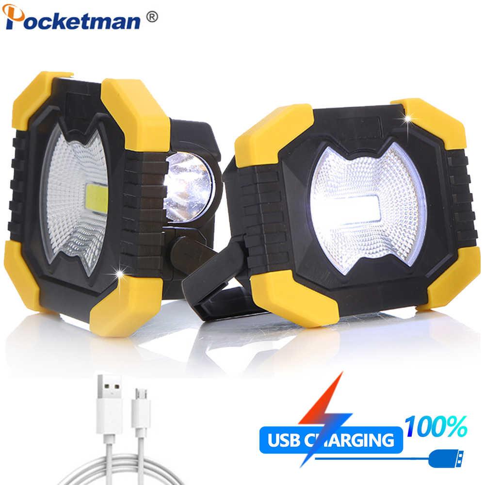 Portable USB 100 W Lampu Kerja Tahan Air Senter Tenaga Surya Lampu Sorot dengan Built-In Baterai 2400 M Ah
