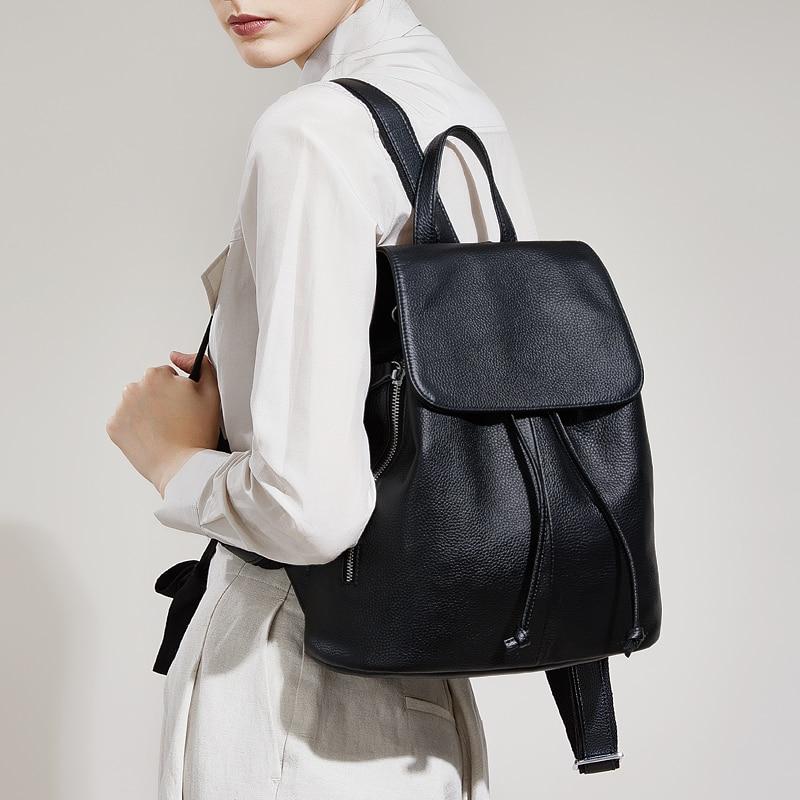 Классический рюкзак из натуральной кожи женская сумка рюкзаки 2019 Новый большой емкости однотонный супер мягкий рюкзак наивысшего качества...