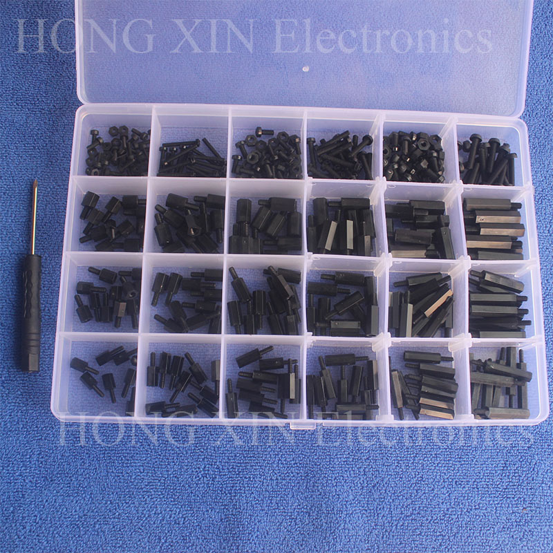 360Pcs M2/M2.5/M3 Black Male-Female Hex Nylon Column Spacers Threaded Screws nuts Bolt Assortment kit set Standoff Box Plastic серьги page 4