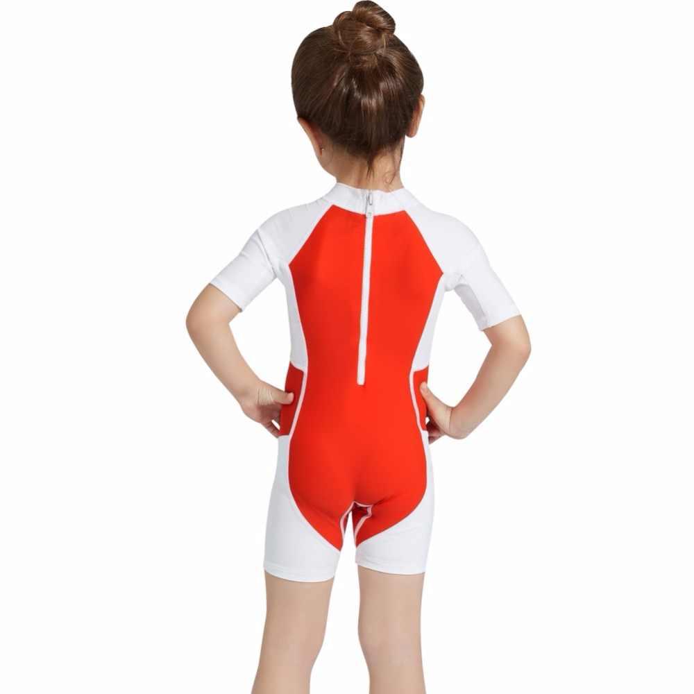 Anak Anak Cepat Kering Satu Potong Pakaian Renang Baju Renang Lengan Pendek Tabir Surya Pakaian Menyelam Renang Termal Baju Renang