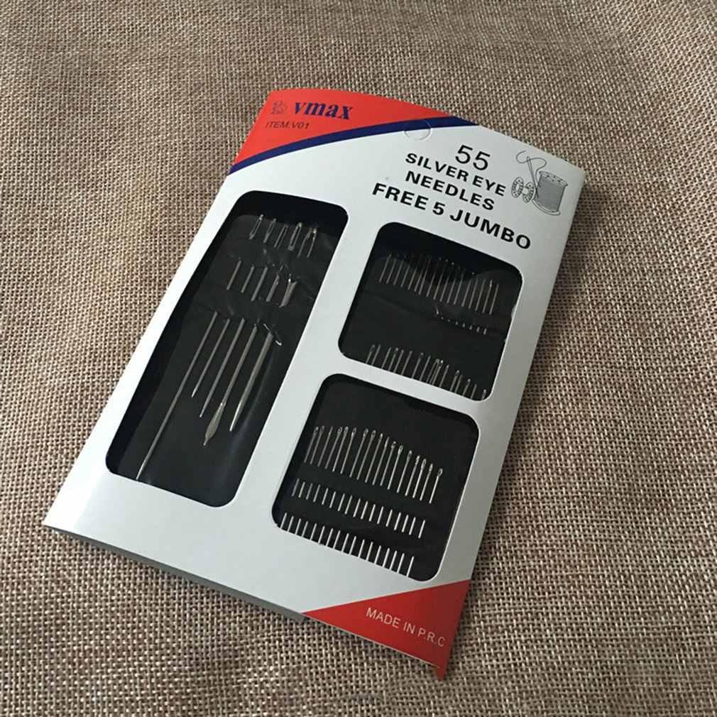 55 Uds agujas de costura de acero inoxidable Pins para costura manualidades para casa hecha a mano punto de cruz accesorios de costura