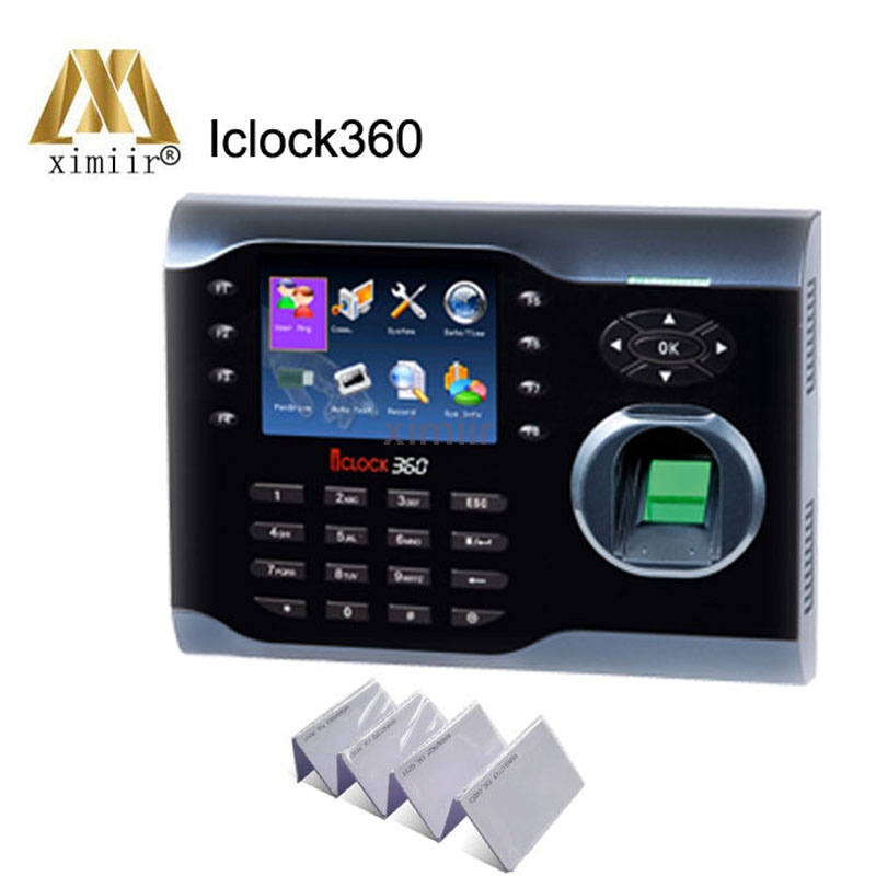 Multi Language Support Iclock360 TCP/IP Fingerprint Time Clock Color Screen With ID Card Reader And Optional Integrated WiFi