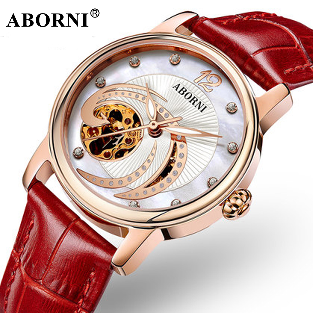 ABORNI 2019 Luxury Mechanical Women Watches Leather Rose Gold Hollow Bracelet Diamand Ladies Watch Casual Clock for girls giftABORNI 2019 Luxury Mechanical Women Watches Leather Rose Gold Hollow Bracelet Diamand Ladies Watch Casual Clock for girls gift