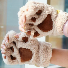 Cosplay Anime Color Drama Plush Halloween Party Game Female Cute Panda Kitten Paw Half Gloves Multiple Colors