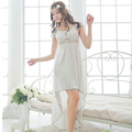Free shipping women White lace sexy nightdress girls  plus size Large size Sleepwear nightgown  M1810-1