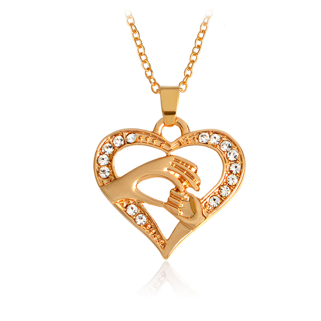 Mother love baby child big hand hold little hand heart necklace for mother love baby child big hand hold little hand heart necklace for mom family rose gold mozeypictures Image collections