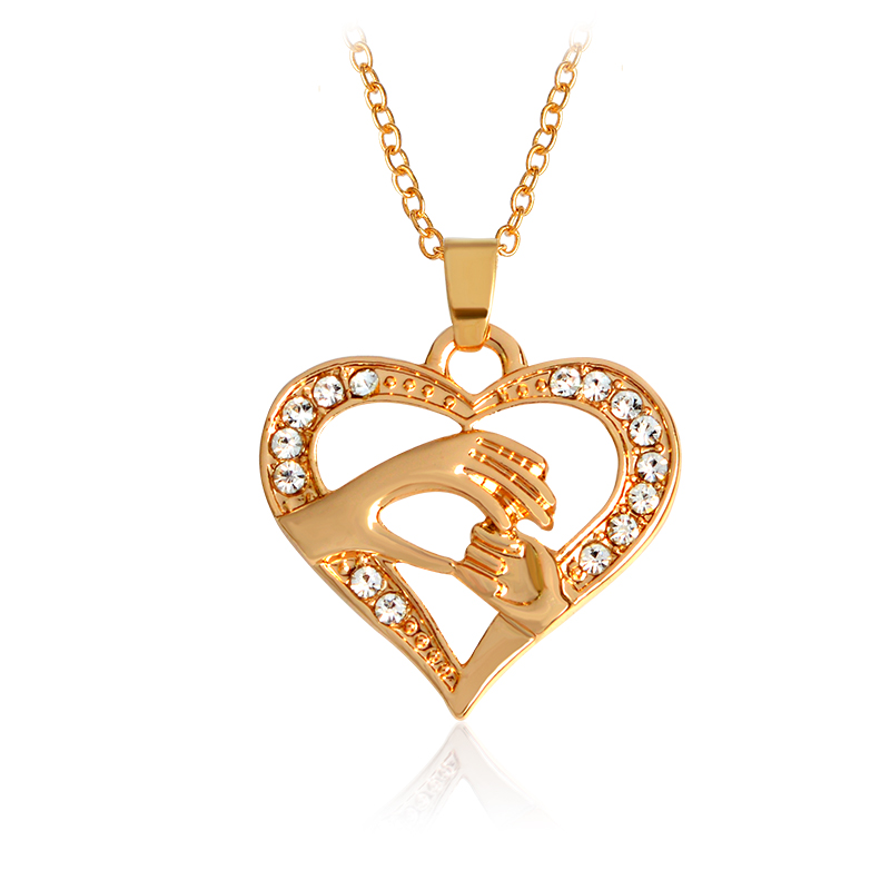 Mother Love Baby Child Big Hand Hold Little Hand Heart Necklace For Mom Family Rose Gold Silver Color Mothers Day Birthday Gift