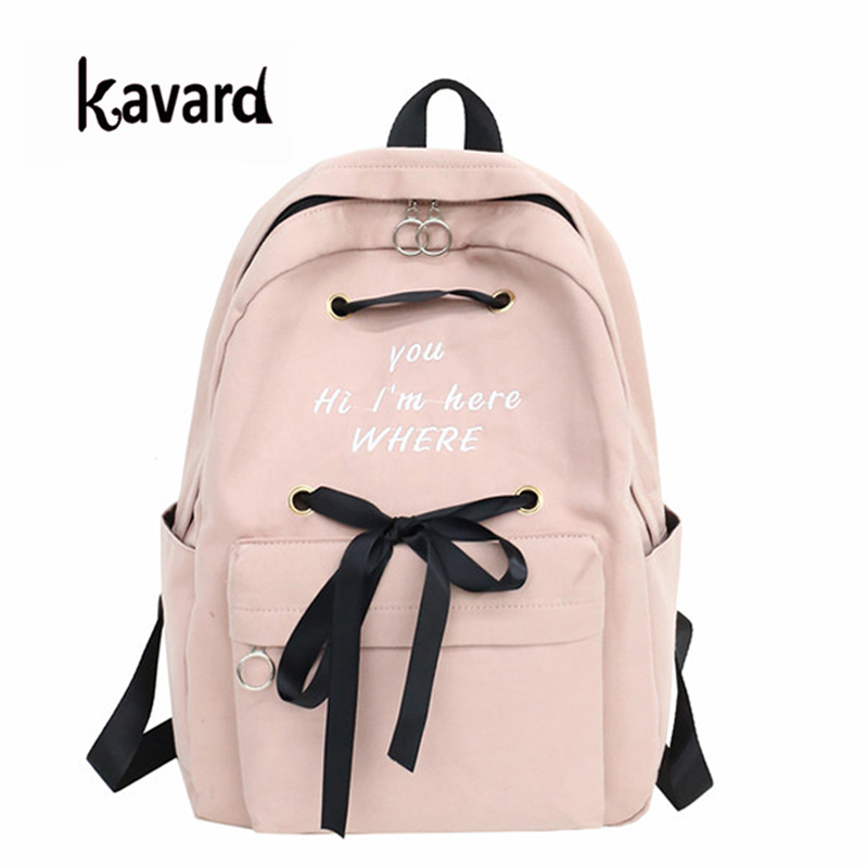 Kavard Rucksack Women School Bags For Teenage Girls Travel Korean Style Embroidery Bow Backpack New Casual Rucksack Women 2018