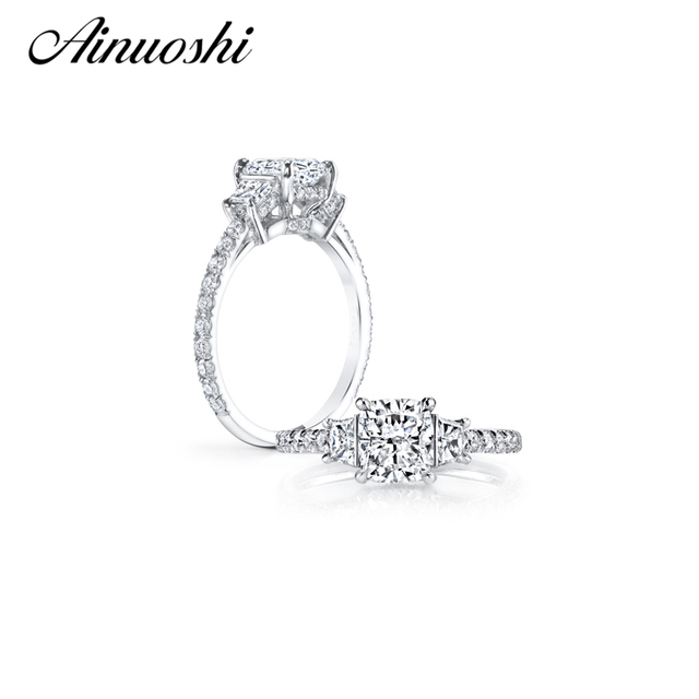 AINUOSHI 3 Carat Cushion Cut Ring Hight Setting Zircon 925 Solid Sterling Silver Anillos Women Wedding Engagement Bridal Band