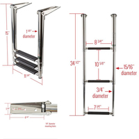 3 Step Telescoping Folding Ladder Platform Boarding Swim For Boat Marine