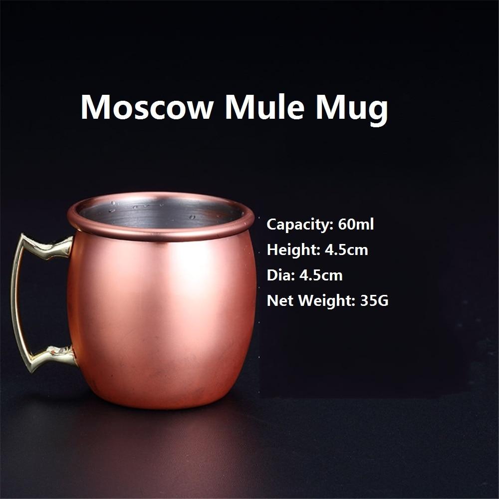 4pcs Mini 60ml Moscow Mule Mugs Caneca de cobre Cup Pure Copper Cups Cobre Espresso Plated Drinkware Handgrip Beer Milk Tea Mugs