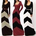 2015 женщины Большой размер халат vestidos высокое качество плиссе летний стиль макси платье O - с длинным рукавом boho ну вечеринку длинные платья