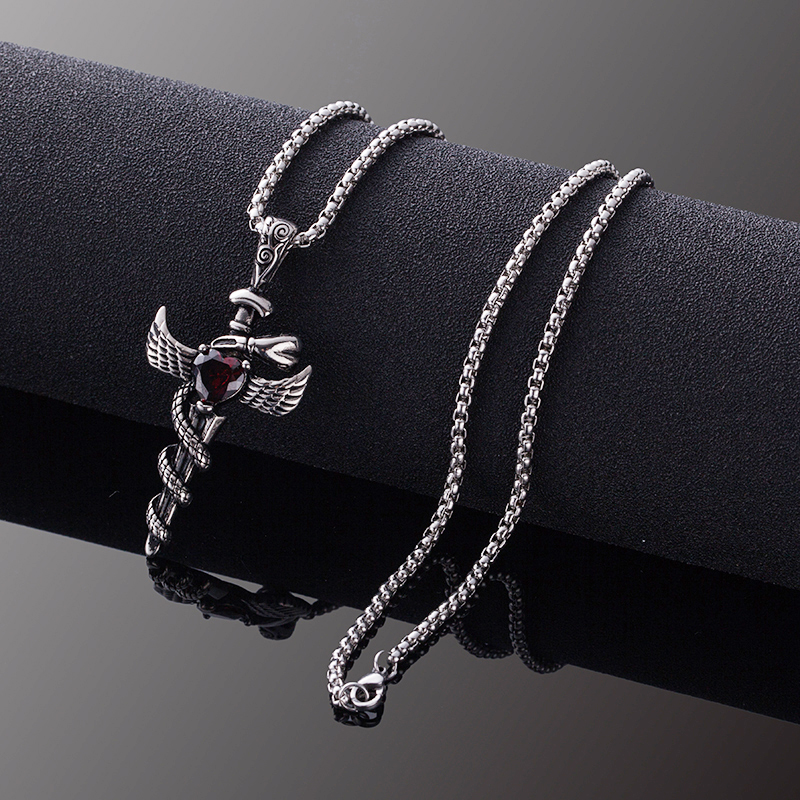 Stainless Steel Wings Pendant Vintage Necklace