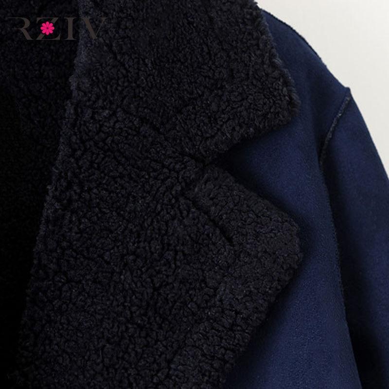 À Manteaux Double Bleu Et Manteau De D'hiver Long Boutonnage Rziv Femme Décontracté Fourrure Couleur Unie Automne UvP4qwI