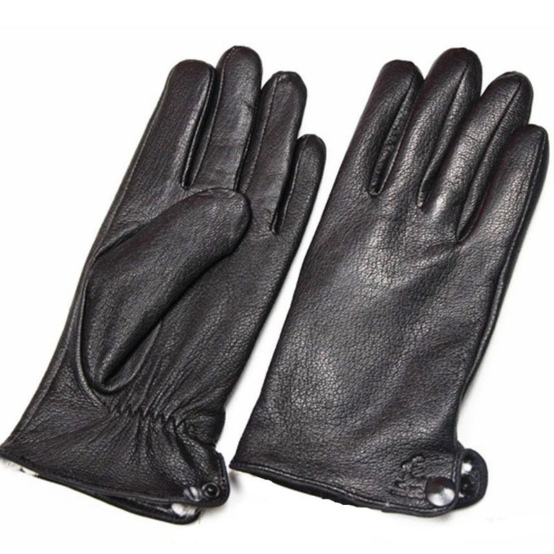 Image 4 - Guantes Winter Gloves Men's Leather Gloves Deerskin Thickened Water Wave Style Fake Lining Autumn And Winter Warm Free Shipping-in Men's Gloves from Apparel Accessories on AliExpress