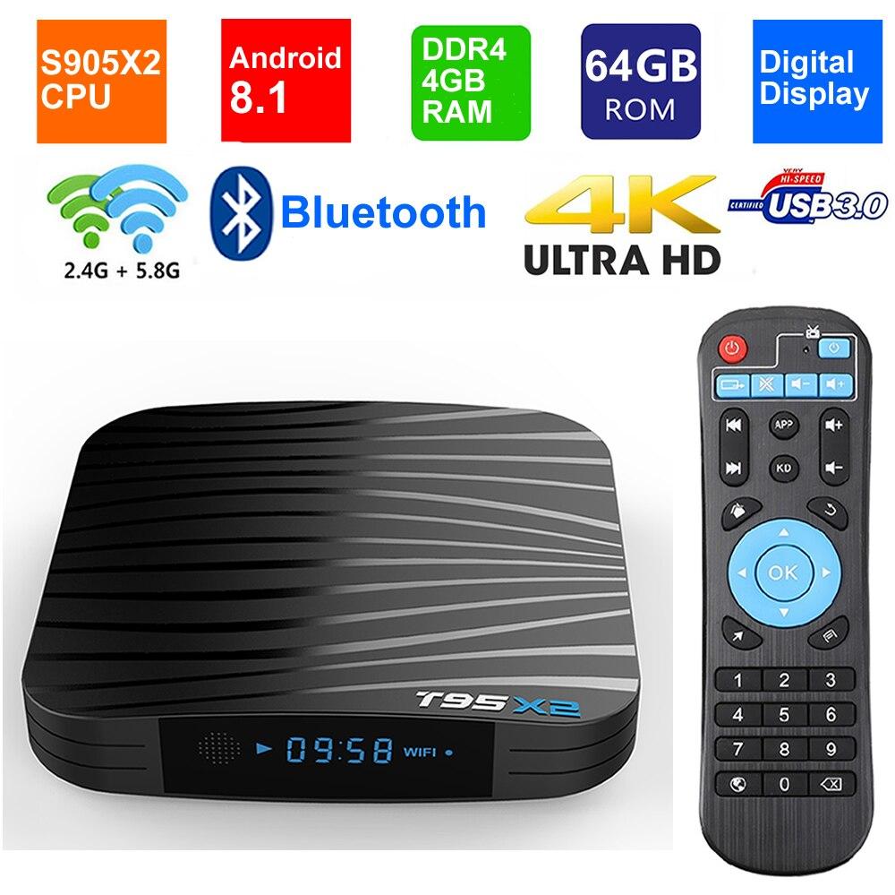 T95X2 Smart TV Box Android 8 1 Amlogic S905X2 Quad Core DDR4 4GB 64GB Bluetooth USB3