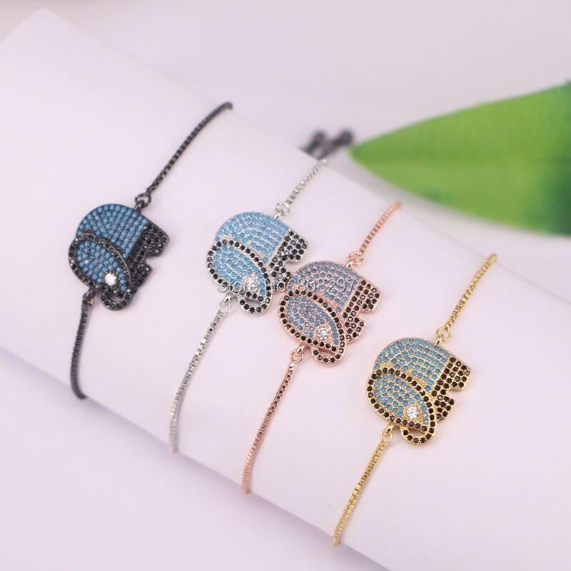 10Pcs Micro pave Cubic Zirconia Elephant Macrame Adjustable chain Bracelet Jewelry Gift