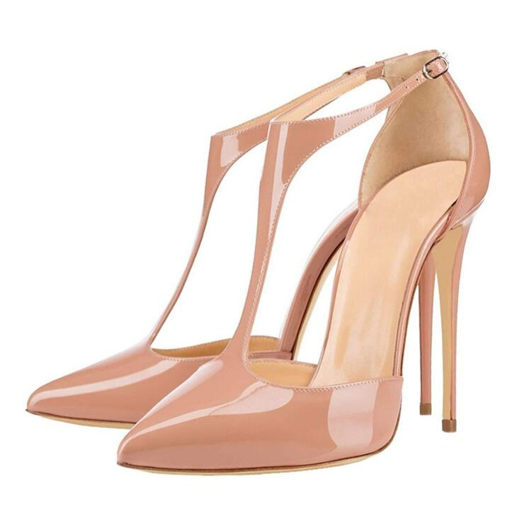 Plus <font><b>Size</b></font> <font><b>15</b></font> Nude Patent Leather T-bar Ankle Strap Pump Women Shoes Pointed Toe High <font><b>Heel</b></font> Pumps 12cm Cut-out Wedding Shoes Bride image