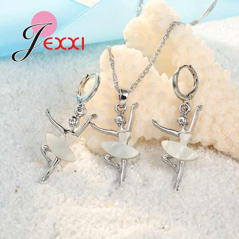 Élégant blanc robe Ballet danse fille 925 en argent Sterling pendentif/collier/boucles d'oreilles ensemble de bijoux belle ensemble de bijoux