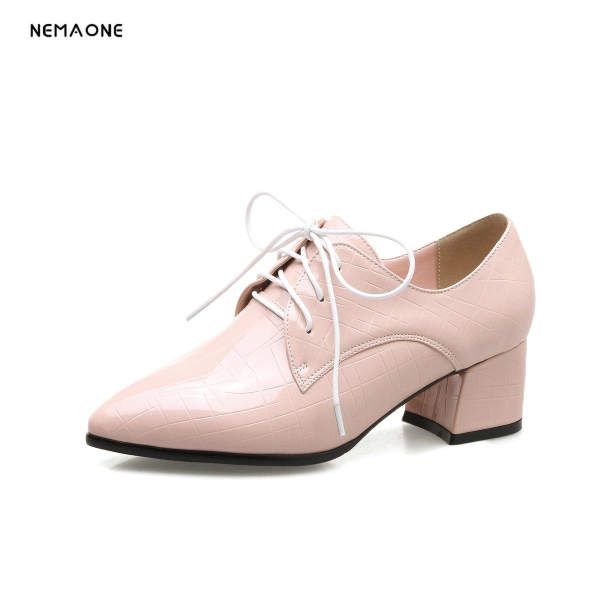NEMAONE black fashion spring autumn new single shoes square thick heels women genuine leather high heels shoes nemaone new fashion 2018 genuine leather