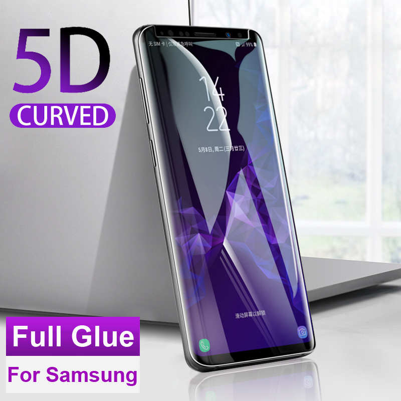 9H <font><b>Full</b></font> <font><b>Glue</b></font> Cover <font><b>Tempered</b></font> <font><b>Glass</b></font> Film for <font><b>Samsung</b></font> <font><b>Galaxy</b></font> <font><b>Note</b></font> 8 <font><b>9</b></font> S8 S9 Plus Ultra Thin Curved Edge Protective Screen Protector image