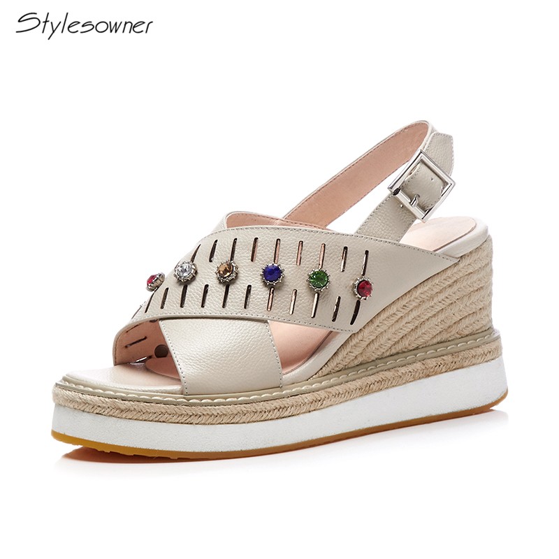 Stylesowner Crystal Bling Wedges Platform Sandals Summer Platform High Heel Sandals Genuine Leather Sewing High Heels SummerHeel stylesowner fashion women rivets pearl platform wedges flower sandals buckle metal high heel ladies sandals summer platform shoe